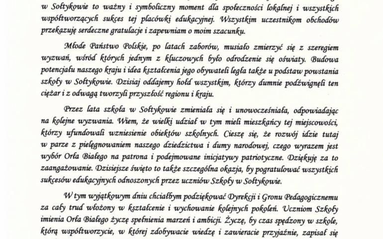 95-lecie Szkoły im. Orła Białego w Sołtykowie