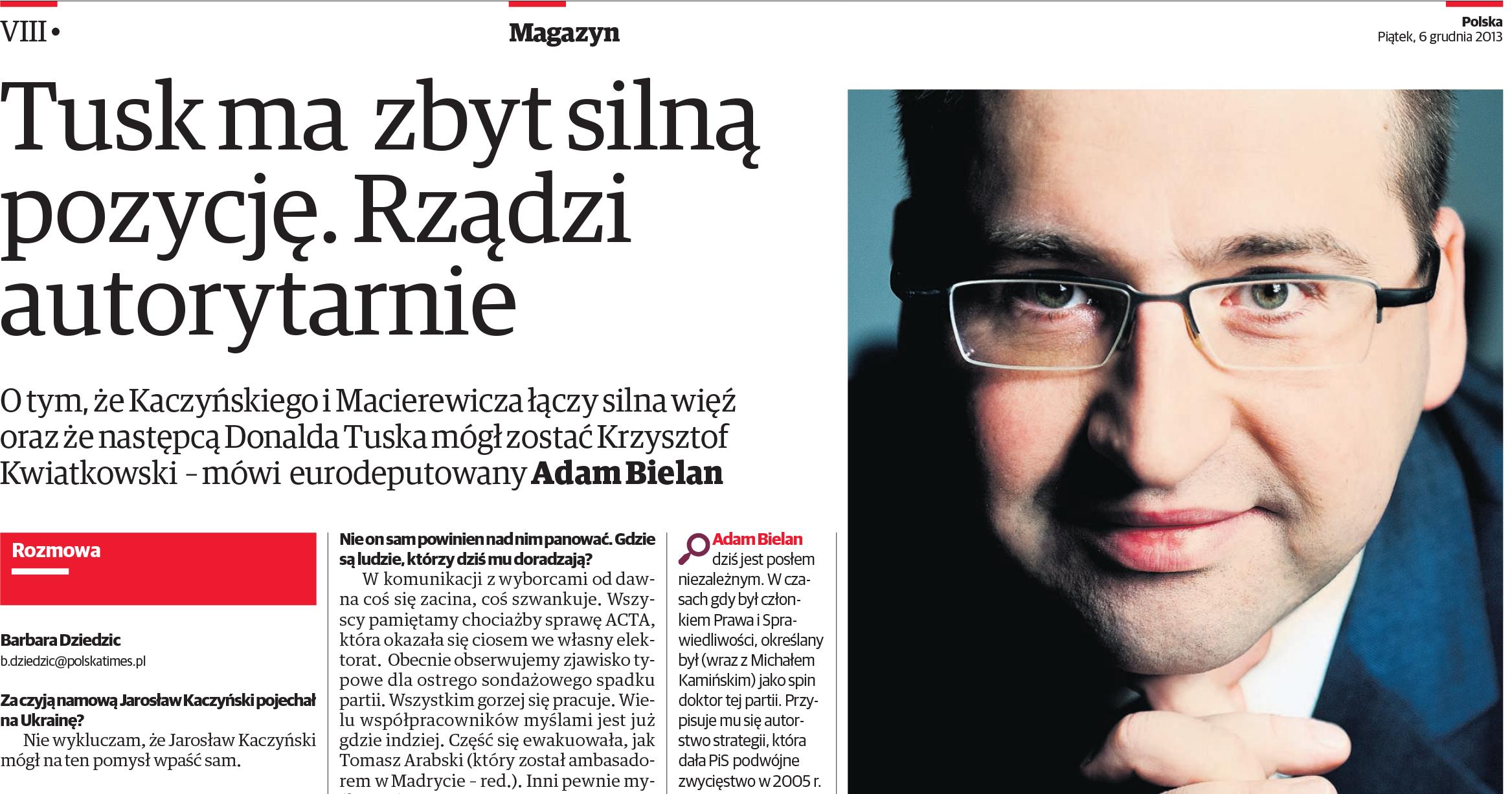 Wywiad z Adamem Bielanem w Polska the Times