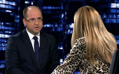 """Adam Bielan gościem Moniki Olejnik w programie """"Kropka nad i"""" / TVN24"""